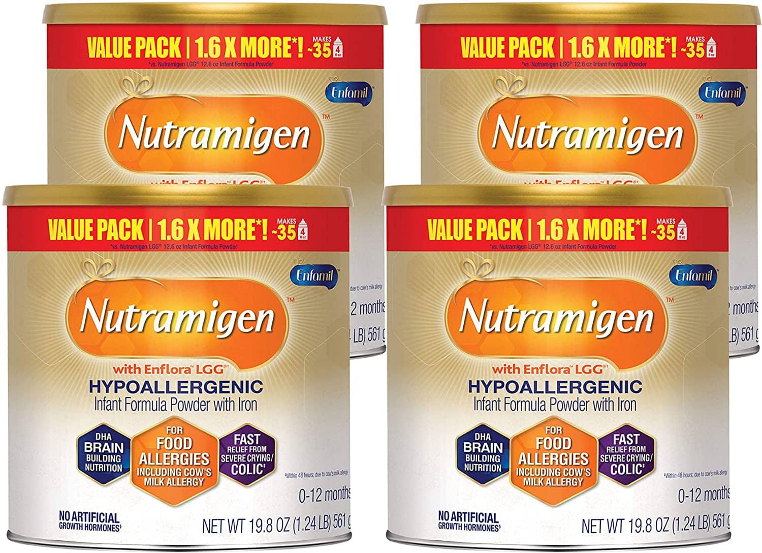 Amazon.com: Enfamil Nutramigen Infant Formula - Hypoallergenic & Lactose Free Formula with Enflora LGG - Powder Can, 19.8 oz (Pack of 4): Health & Personal Care $118