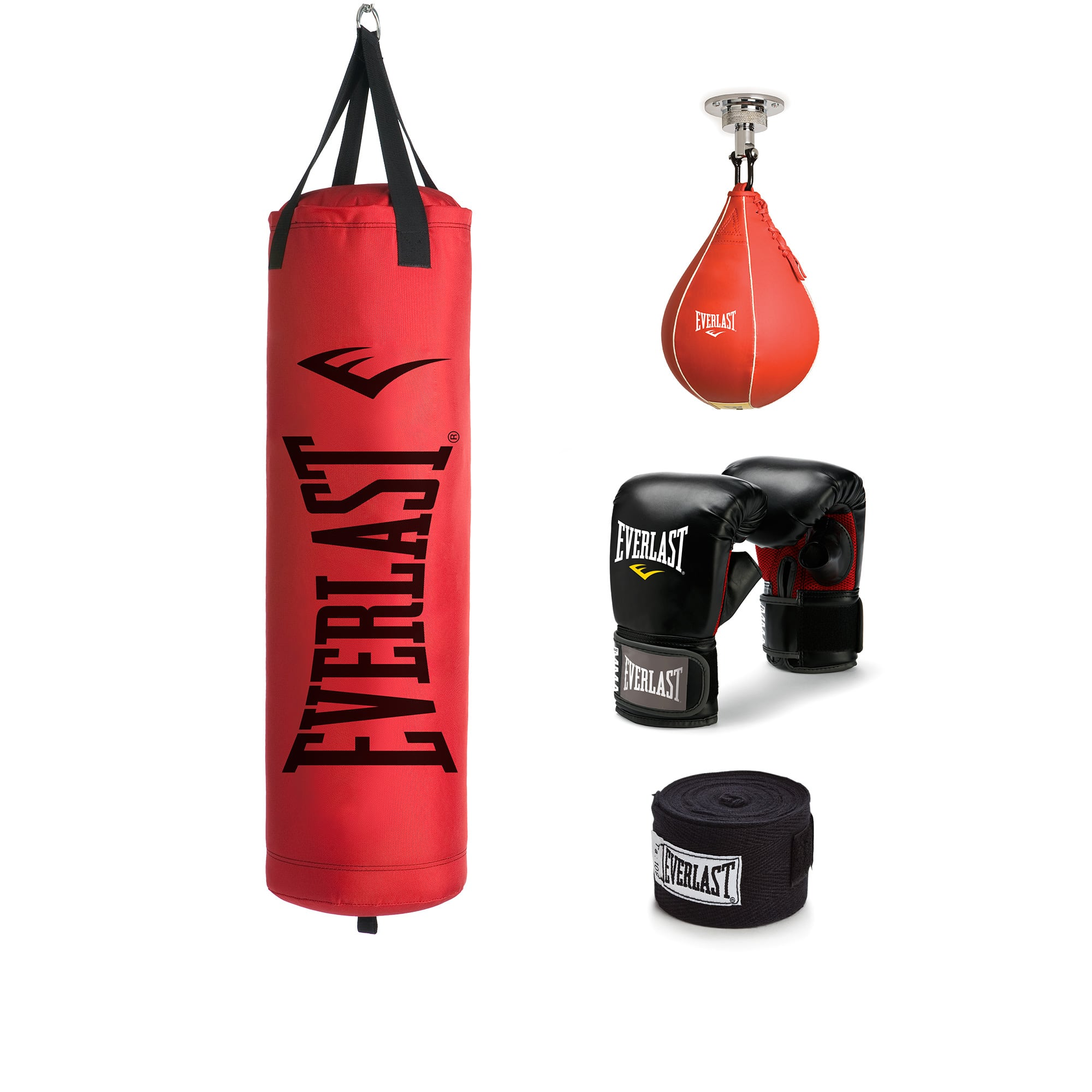 Everlast 70 lb Poly Canvas Red Heavy Bag / Punching Bag Kit $69.99