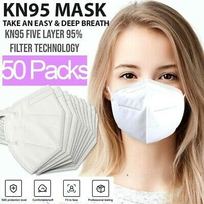 KN95 Protective 5 Layers Face Mask [50 PACK] BFE 95% PM2.5 Disposable Respirator - $11.99