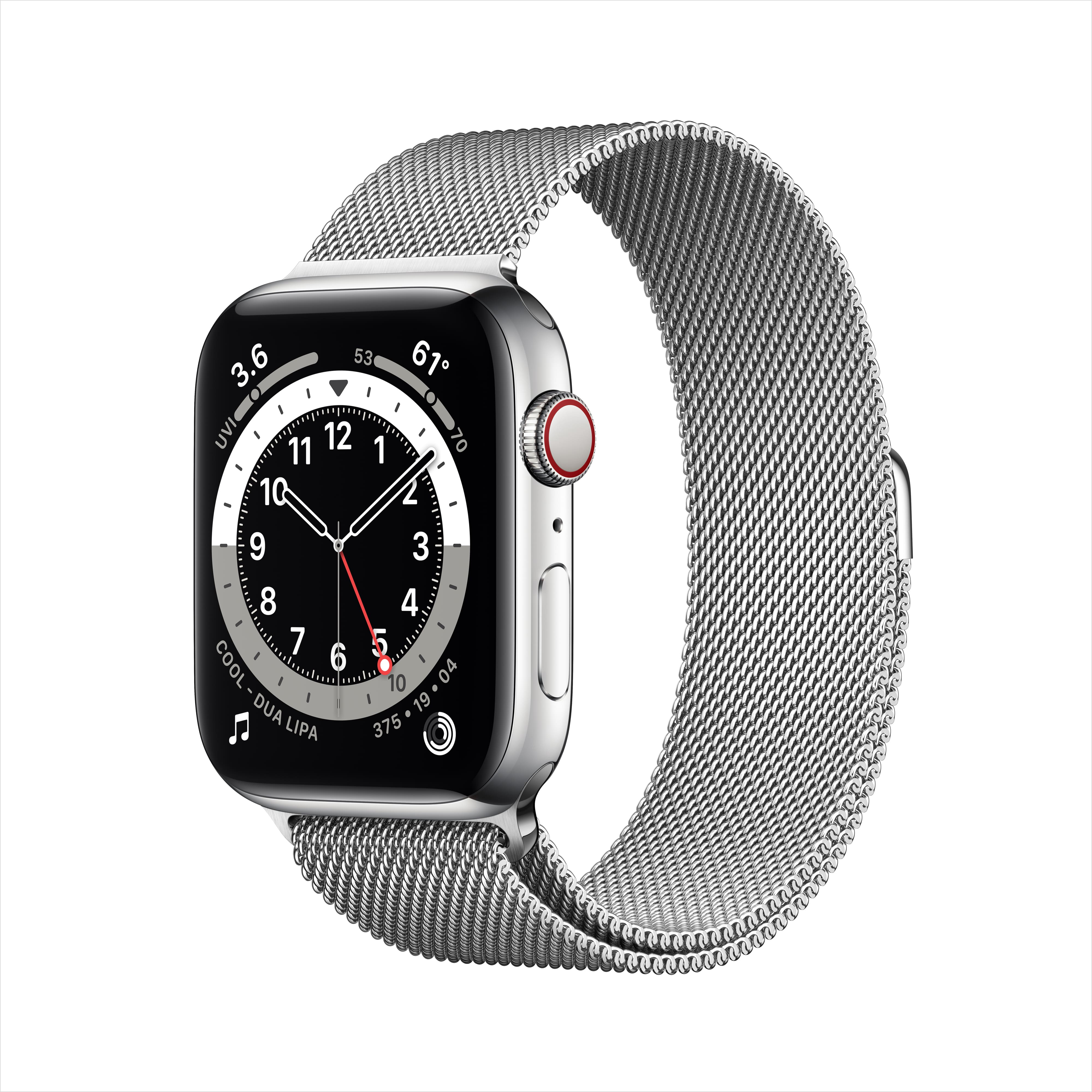 Apple Watch Series 6 GPS + Cellular, 44mm Silver Stainless Steel Case with Silver Milanese Loop $553.12