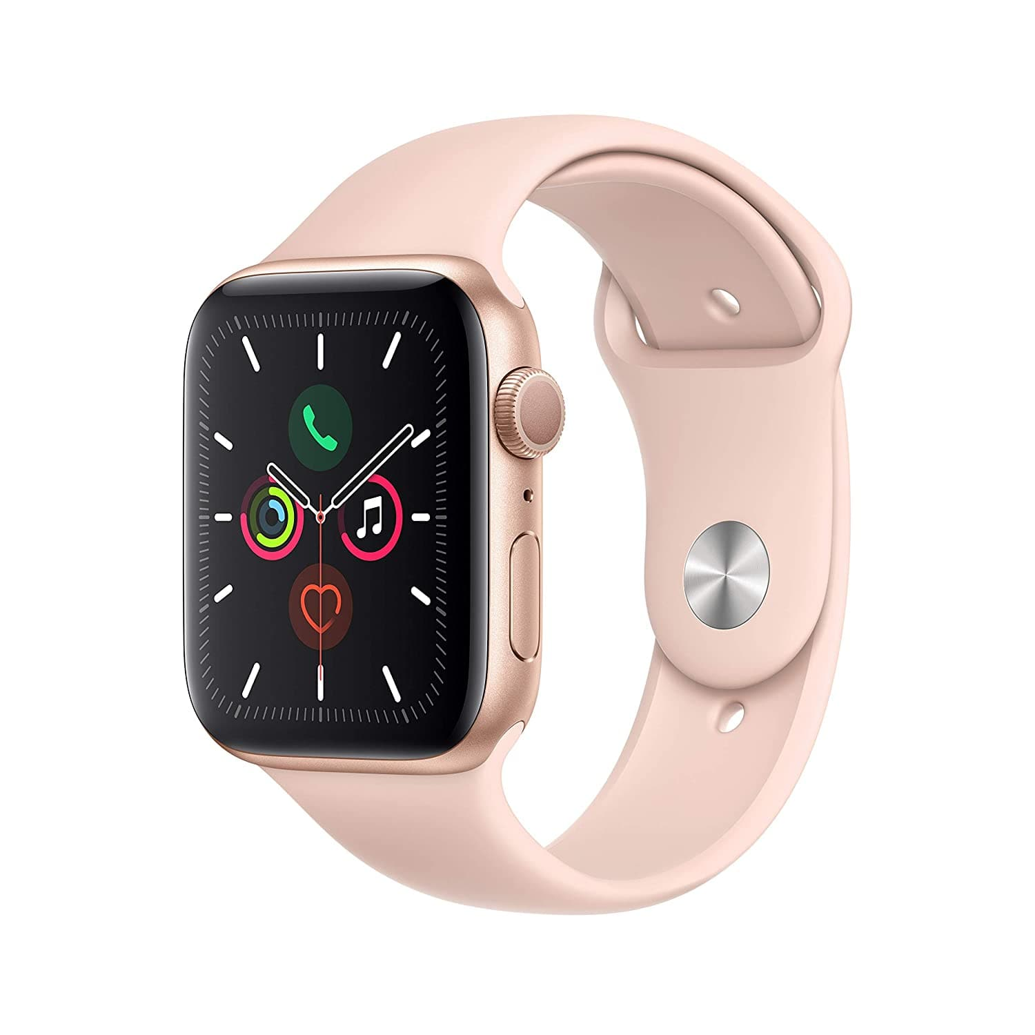 Apple Watch Series 5 (GPS, 44mm) - Gold Aluminum Case with Pink Sport Band $329 @ Amazon