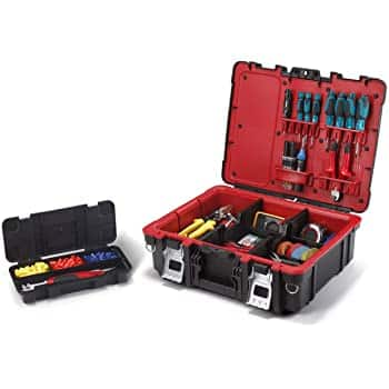 Keter Resin Technician Portable Tool Box Organizer with Cushioned Dividers for Small Parts and Hardware Storage, Black/Red $13