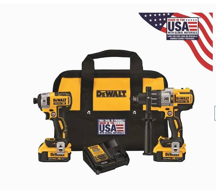 YMMV DEWALT XR 2-Tool 20-Volt Max Brushless Power Tool Combo Kit with Soft Case (Charger Included and 2 x 4Ah-Batteries Included) $179