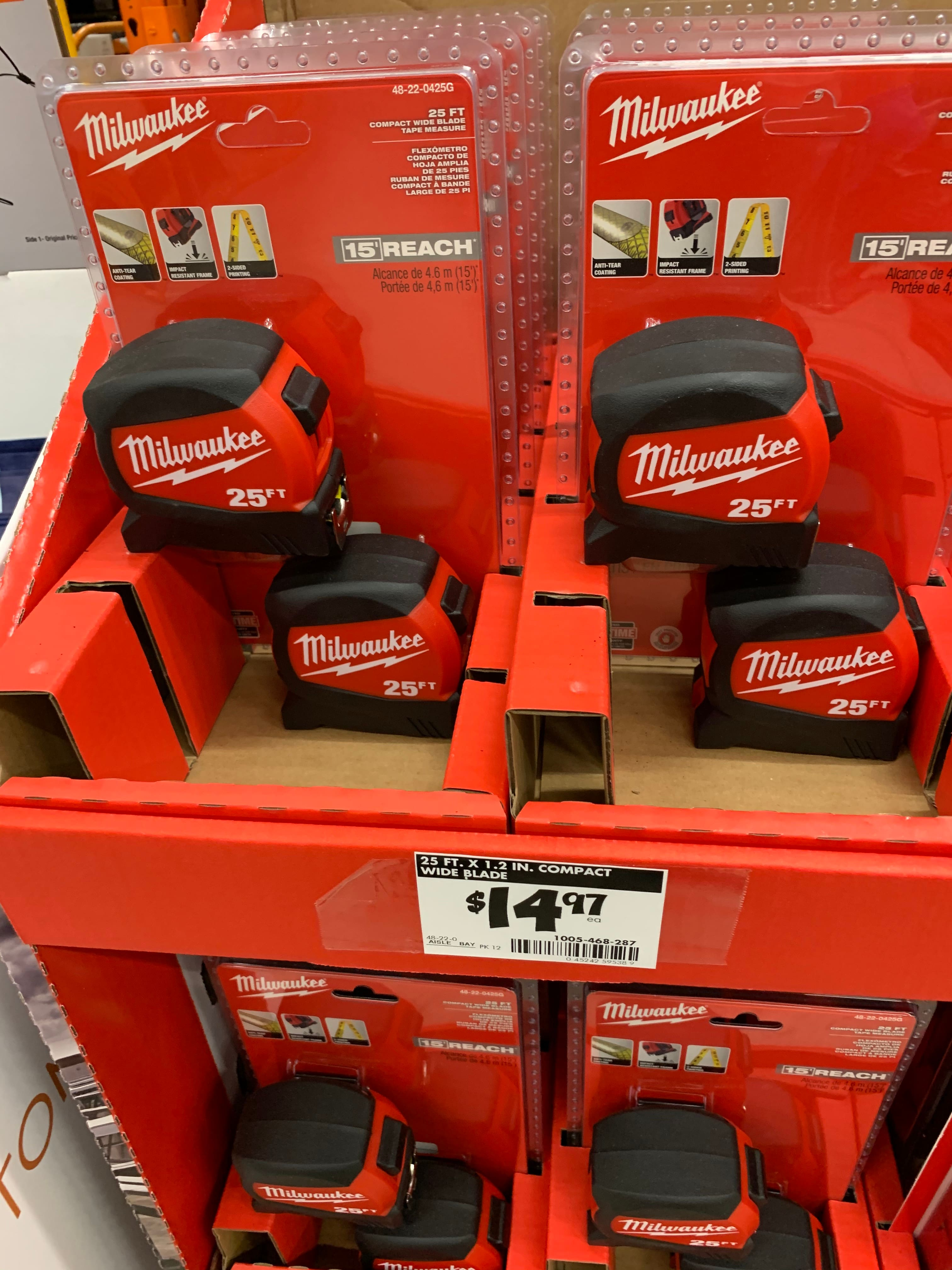 Milwaukee 25 ft. x 1.2 in. Compact Wide Blade Tape Measure (2-Pack) $14.97