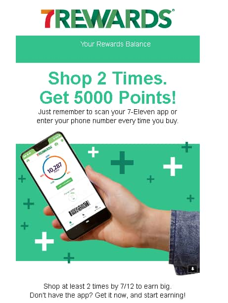 Existing 7-eleven Rewards members being offered up to 5000 points for scanning the app at least 2x between 6/12-7/12/19 - YMMV