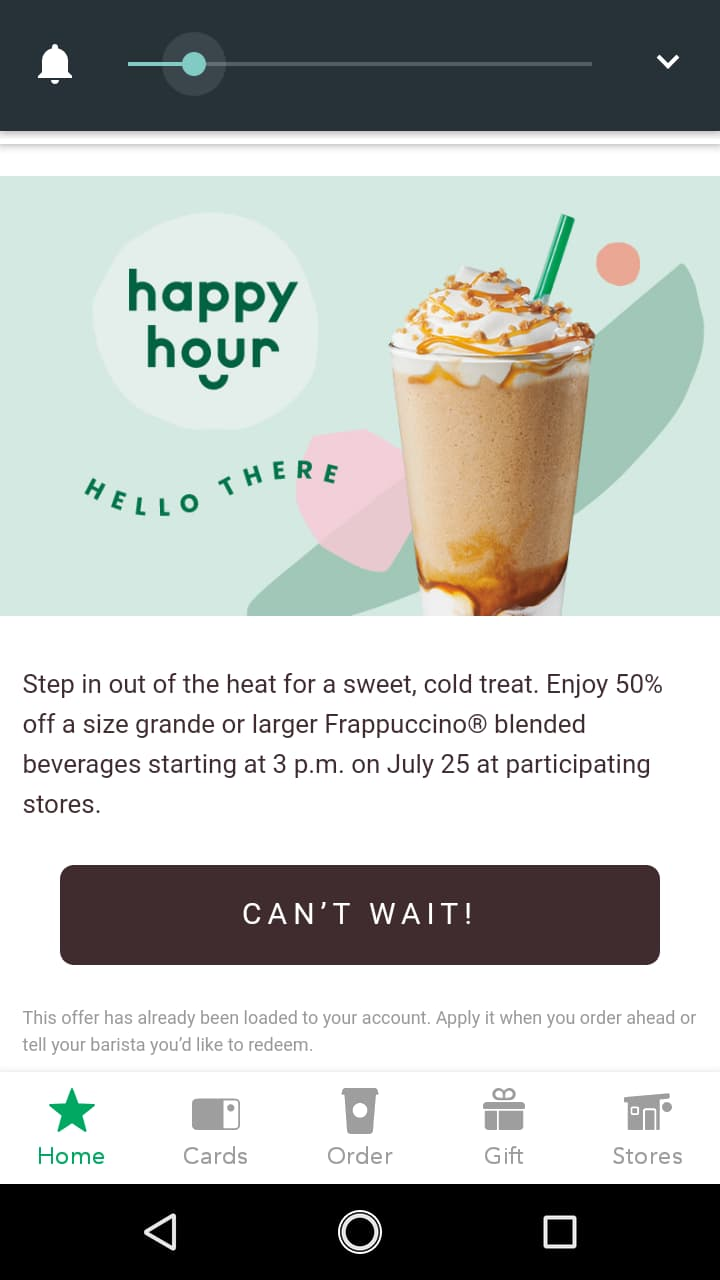 Starbucks Happy Hour offering 50% off Grande or Larger