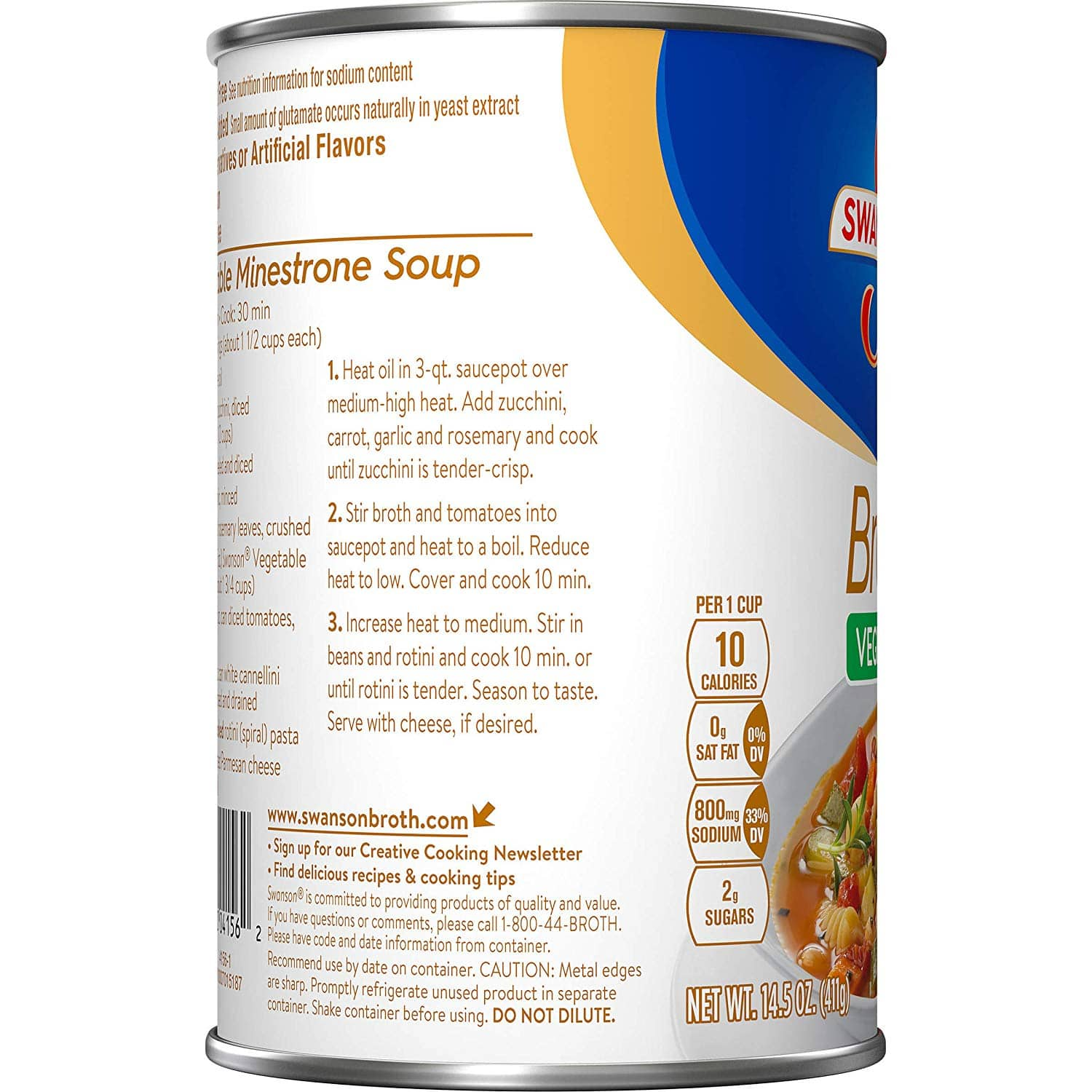 Amazon has Swanson Vegetable Broth, 14.5 oz. Can for 94 cents w/ Subscribe & Save + Free S&H as low as 84 cents with 5+ S&S items - Good S&S Filler item $0.94