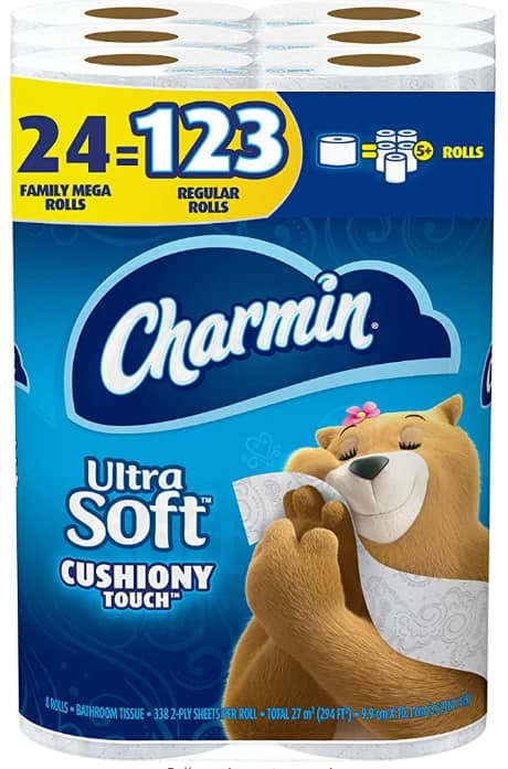 Charmin Ultra Soft Cushiony Touch Toilet Paper, 24 Family Mega Rolls (Equal to 123 Regular Rolls) $31.49