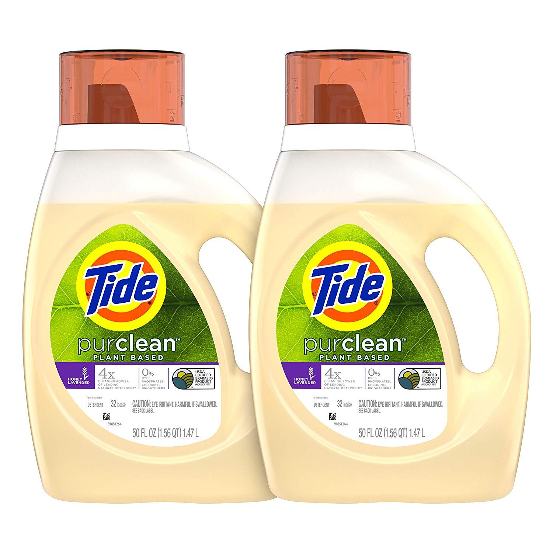 Tide Purclean Plant-Based Laundry Detergent Liquid, Honey Lavender Scent, 50 oz, Pack of 2, 64 Loads Total  for $12.99 ($15.99-$3)