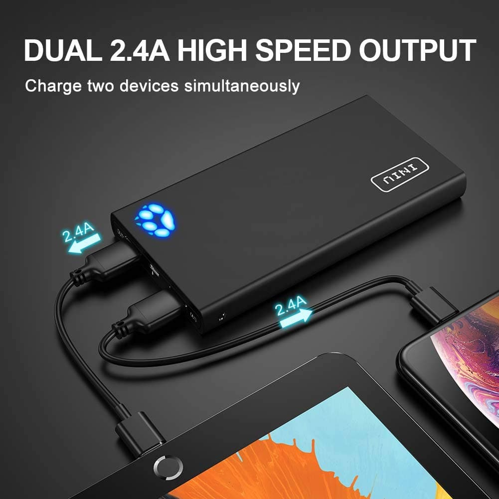 INIU Portable Charger, 10000mAh Power Bank, 4.8A High-Speed 2 USB Ports with Flashligh $4 coupongt Battery Pack ($19.99 - $4) $15.99