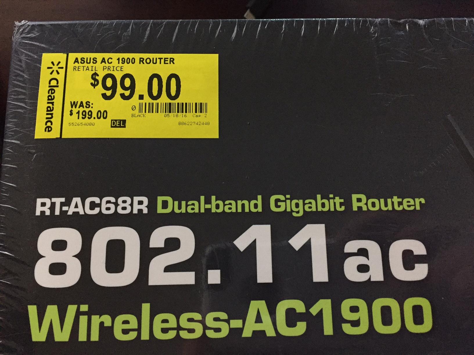 ASUS RT-AC68R Dual-Band Wireless-AC1900 Gigabit Router $99 Walmart B&M YMMV