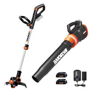 Refurb: WORX 20V Grass Trimmer / Edger & Leaf Blower with (2) Batteries $74