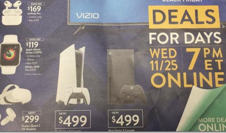 7PM EST 11/25 PS5 Console Version $499 at Walmart.com