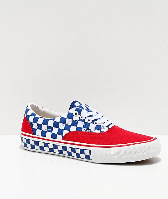 Vans Era Pro Red, Blue & White Checkerboard Skate Shoes $24.32