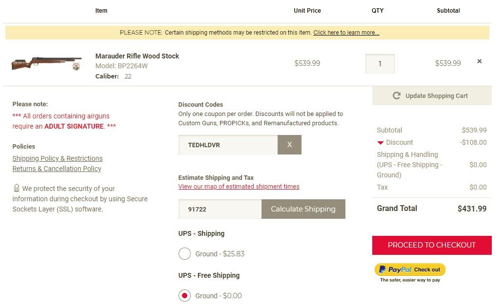 benjamin Marauder Rifle Wood Stock $431.99 after 20% off coupon + free shipping on Friday