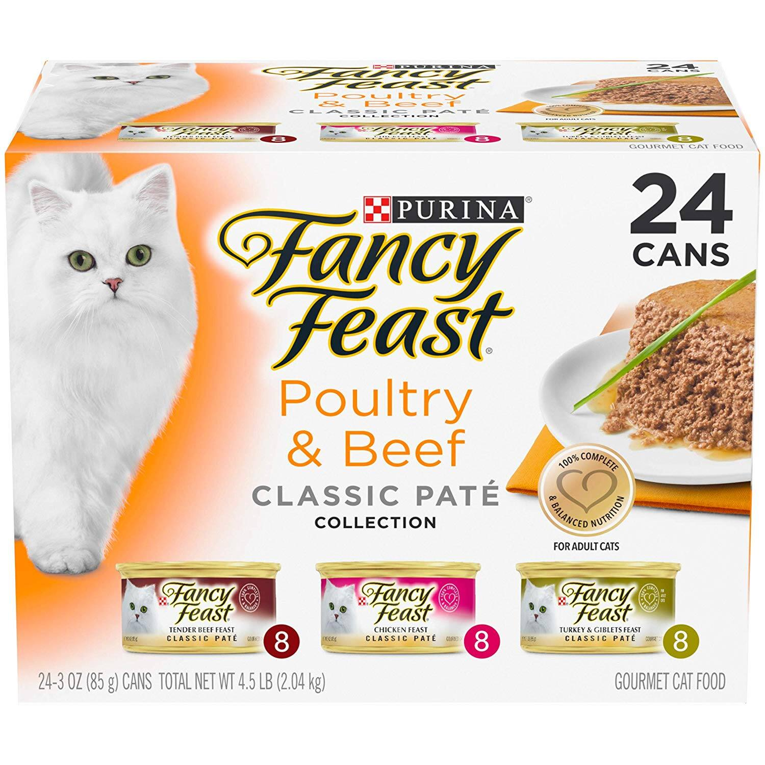 Purina Fancy Feast Wet Cat Food Variety Pack, Chicken Feast Collection - (24) 3 oz. Cans $12.89