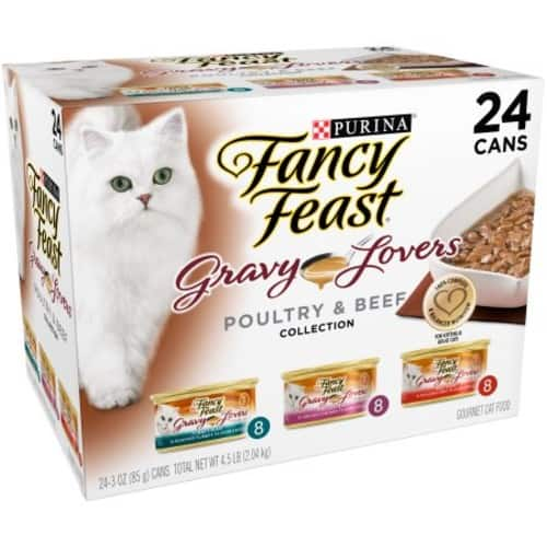 (24 Pack) Fancy Feast Gravy Wet Cat Food Variety Pack, Gravy Lovers Poultry & Beef Feast Collection, 3 oz. Cans $11.91