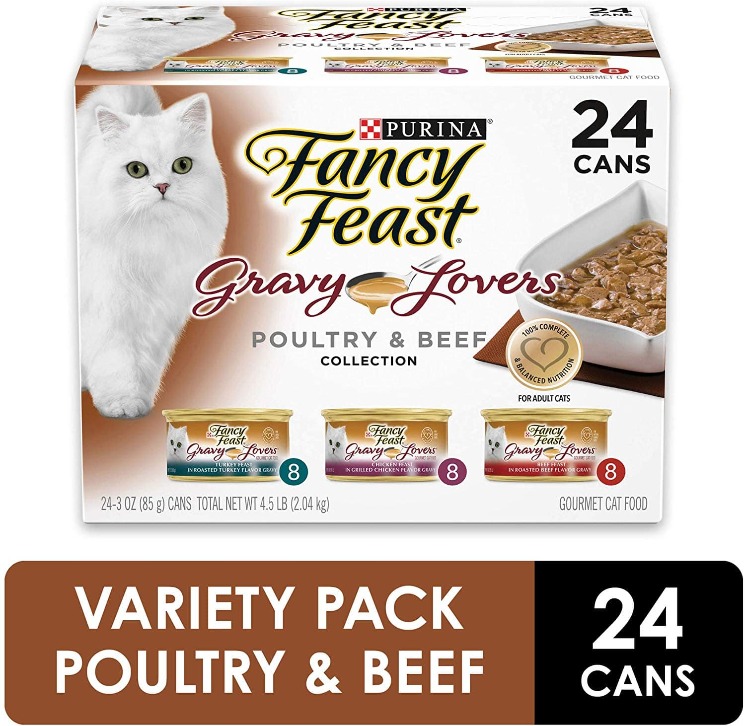 24-Ct Purina Fancy Feast Gravy Wet Cat Food (Poultry & Beef Variety Pack)