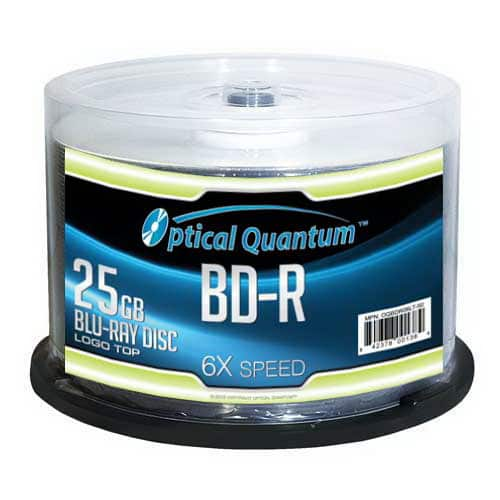 50-Pack Optical Quantum 25 GB 6X BD-R Blu-ray Blank Disc for $14.99 + Free Ship