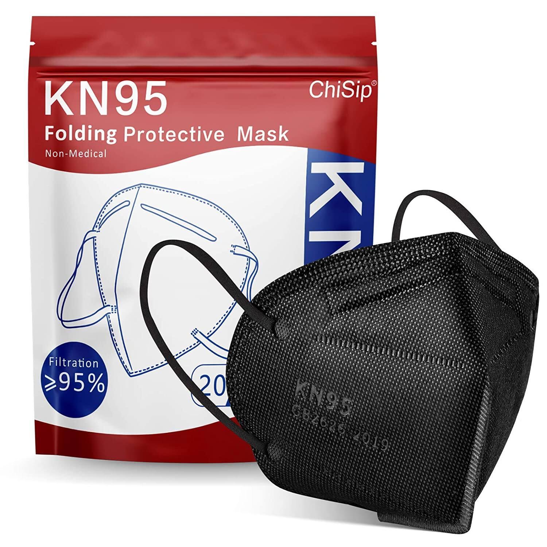 20-PCs KN95 Face Masks ( Color: black ) 5-Layer Filter Efficiency≥95% Face Mask for Men & Women $7.90 & free shipping