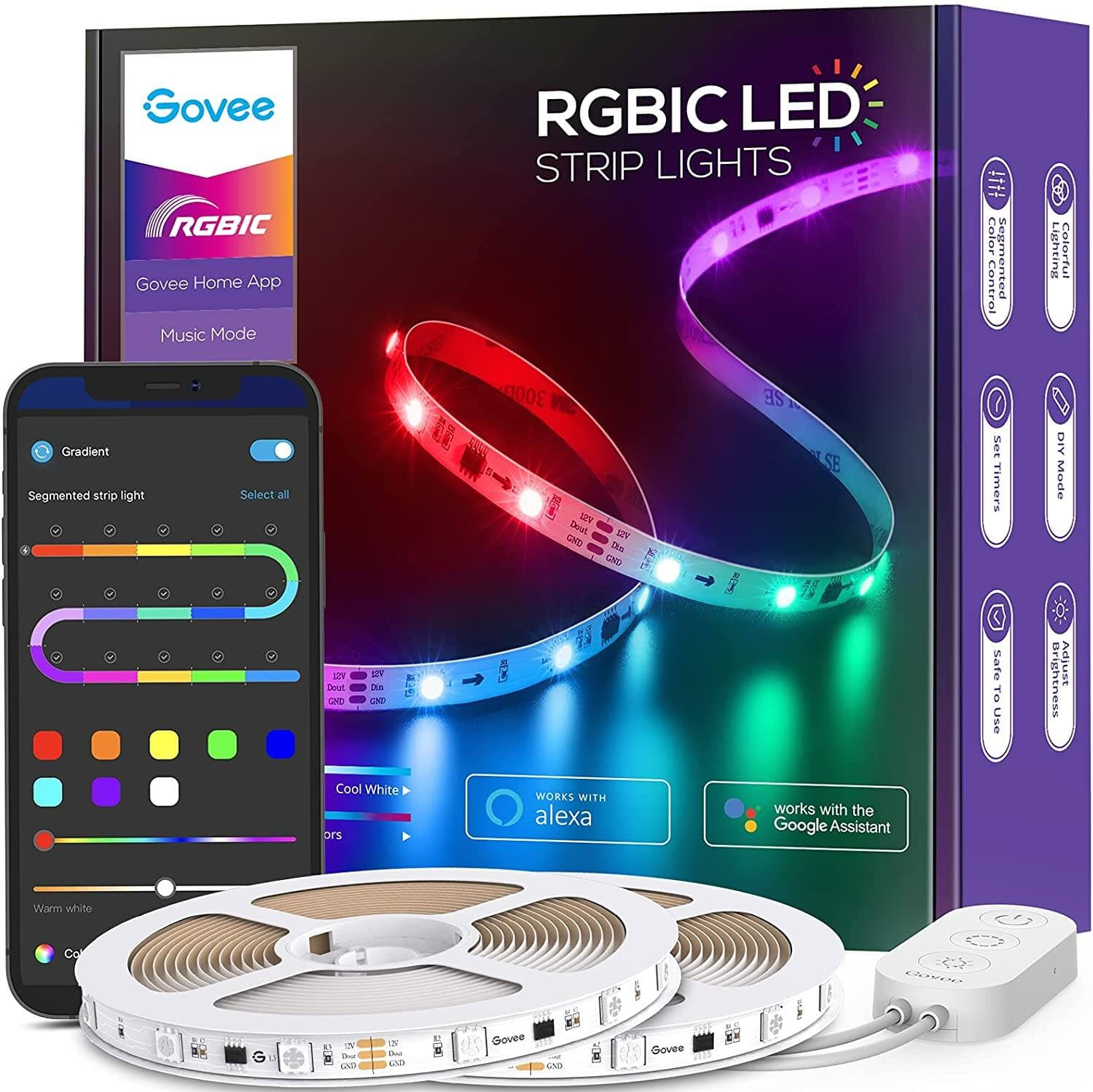 Govee 32.8ft Wifi RGBIC LED Strip Lights, Smart Segmented Color Control, Works with Alexa and Google Assistant, Music Sync,  (2x16.4ft)- $32.19 + FS