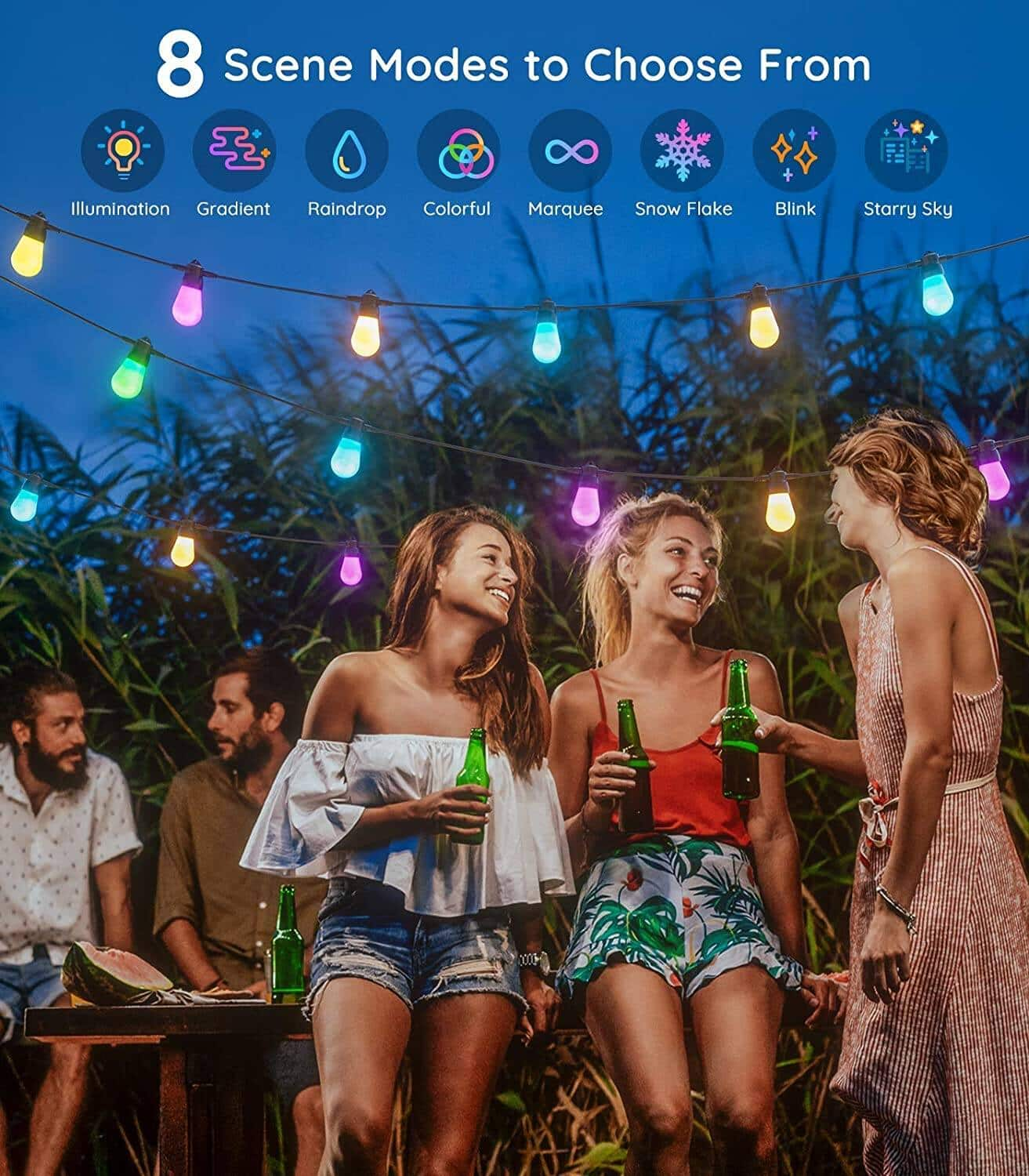 Govee Bluetooth 48ft RGBW Outdoor String Lights, Patio Lights Dimmable App Control, IP65 Waterproof,15 LED Bulbs with DIY and 8 Scene Modes- $39.89 + FS
