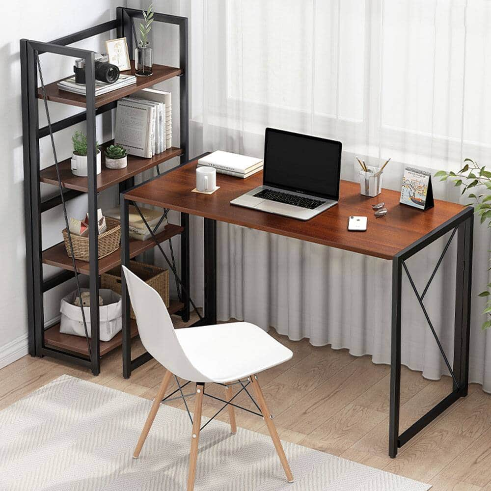 """COMHOMA Folding Desk Foldable Computer Desk 40"""" Writing Desk Table Space Saving Collapsible Desk, No Assembly Required, Brown for $36.54 + FS with PRIME"""