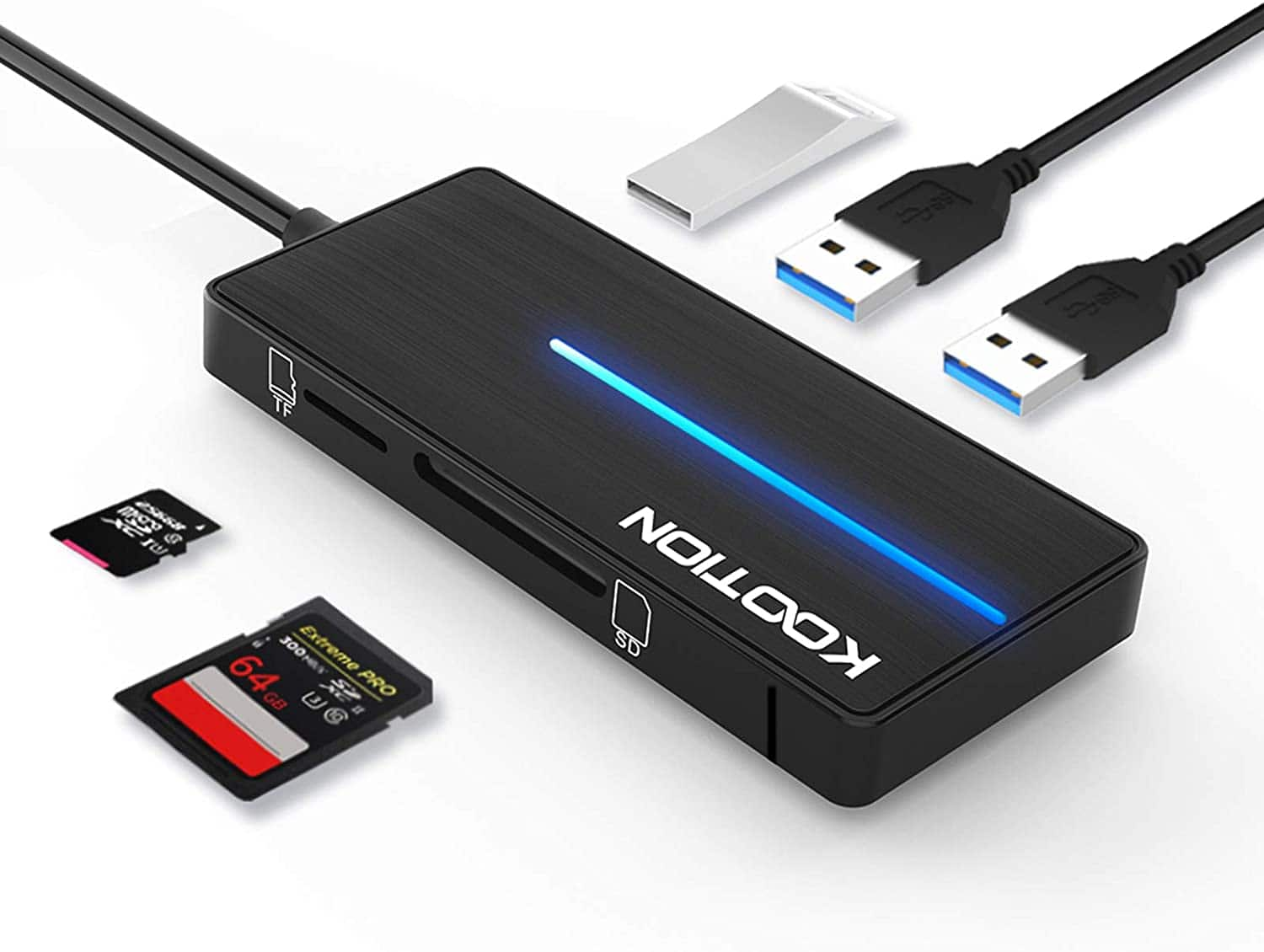KOOTION 5 in 1 USB 3.0 Hub with SD/TF Card Reader Ports with LED Indicator - $7.91 + FS w/ Prime or orders $25+