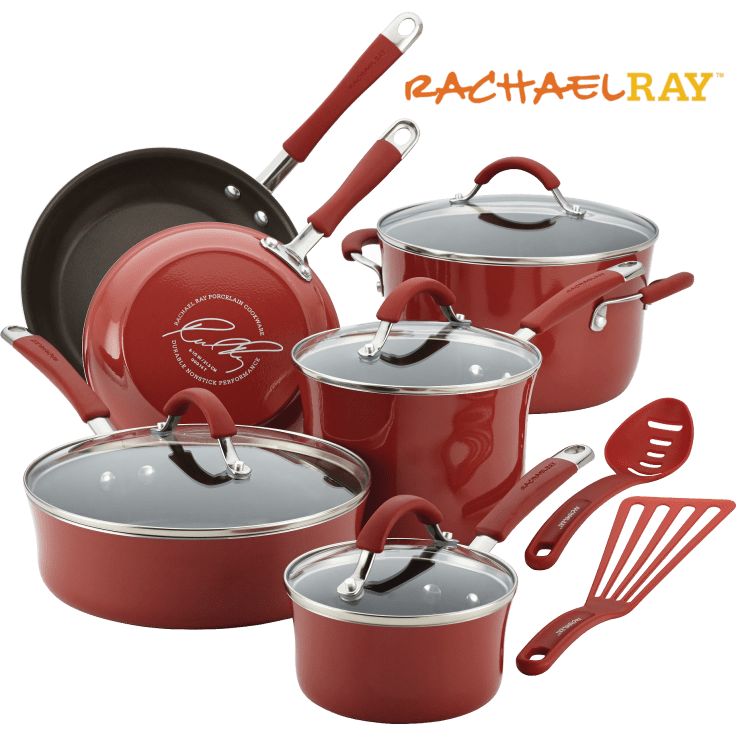 Rachael Ray 12-Piece Cucina Hard Porcelain Enamel Nonstick Cookware Set for $69 + Free Shipping
