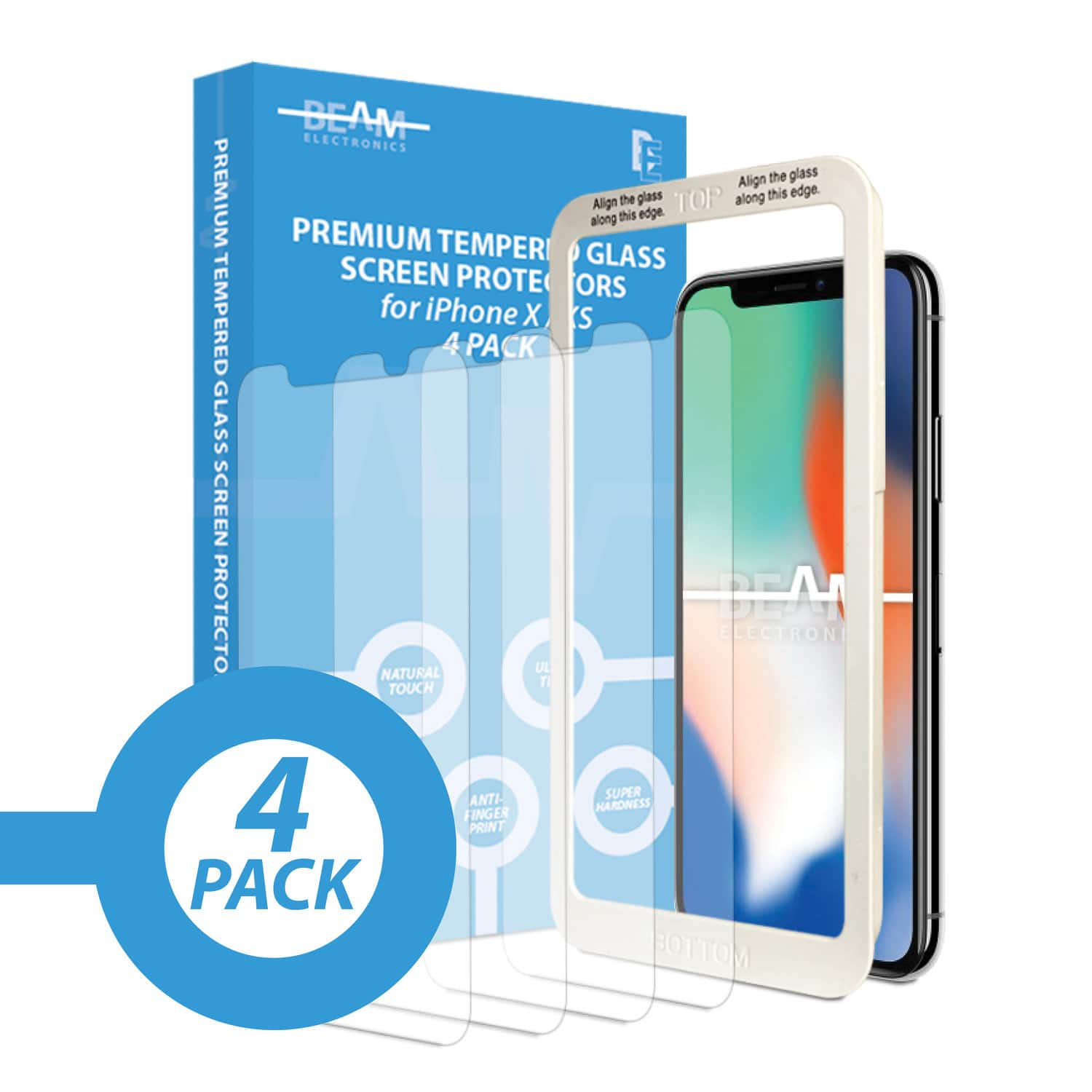 4 Pack of Glass Screen Protectors - iPhone X/XS $3.99 + FS