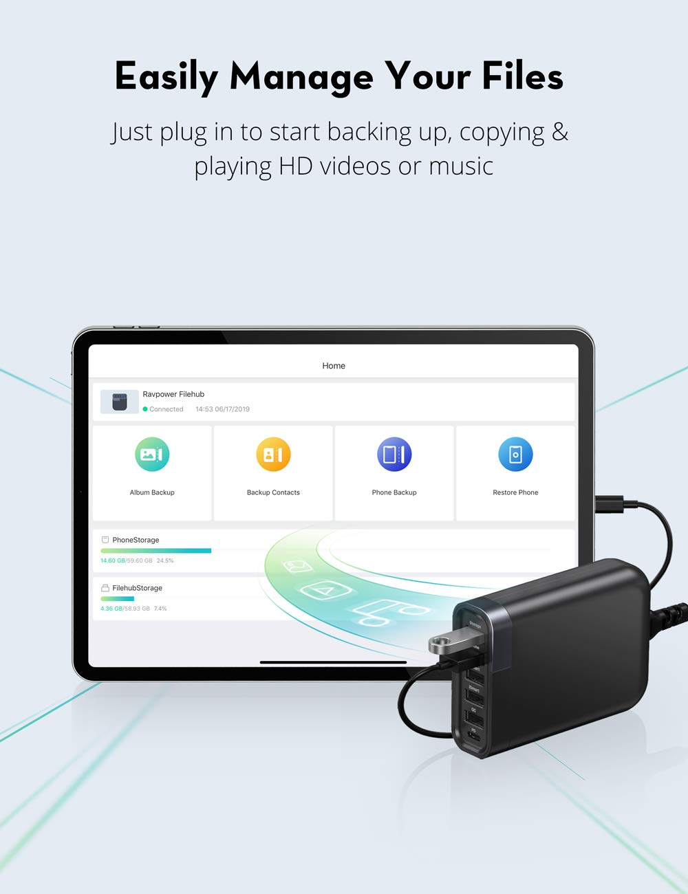 RAVPower 60W 6-Port USB C Charger Filehub with 24W Power Delivery, Data Transfer and Backup, Quick Charge 3.0, iSmart Multiple Port, Data Transfer and Backup $26.39 + FS