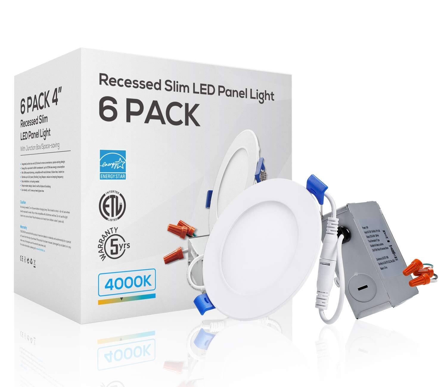"6 Pack TORCHSTAR 4"" Ultra-Thin Recessed Light 10W 3000K/4000K/5000K - $49.79"