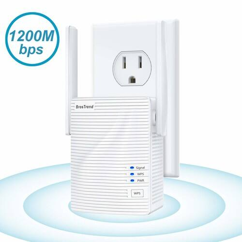 BrosTrend 1200Mbps WiFi Range Extender, Dual Band Supported with 2 External Antennas, $24.59 + FS