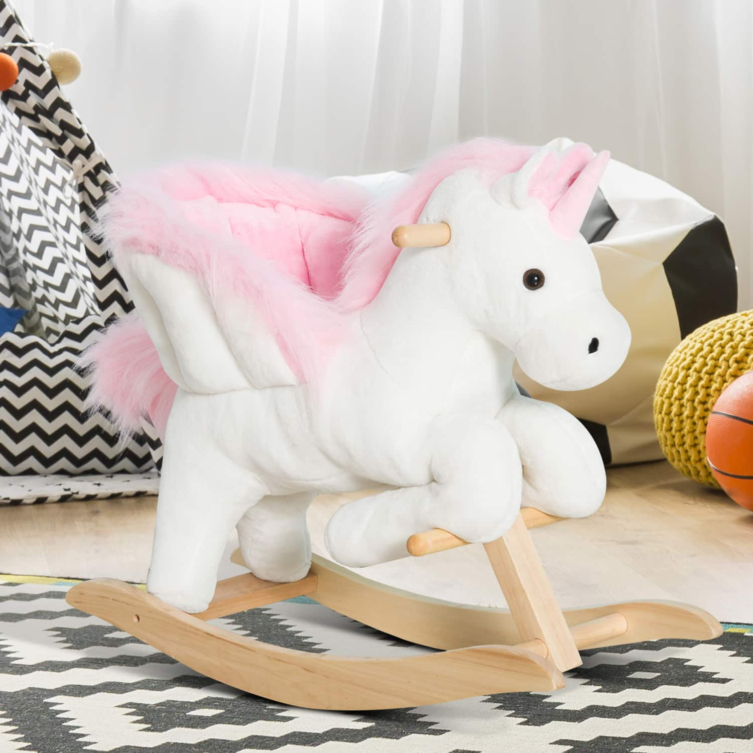 Qaba Kids Ride-On Unicorn Rocking Horse with Sing Along Songs and Safety Seatbelt- $54.99 + Free Shipping