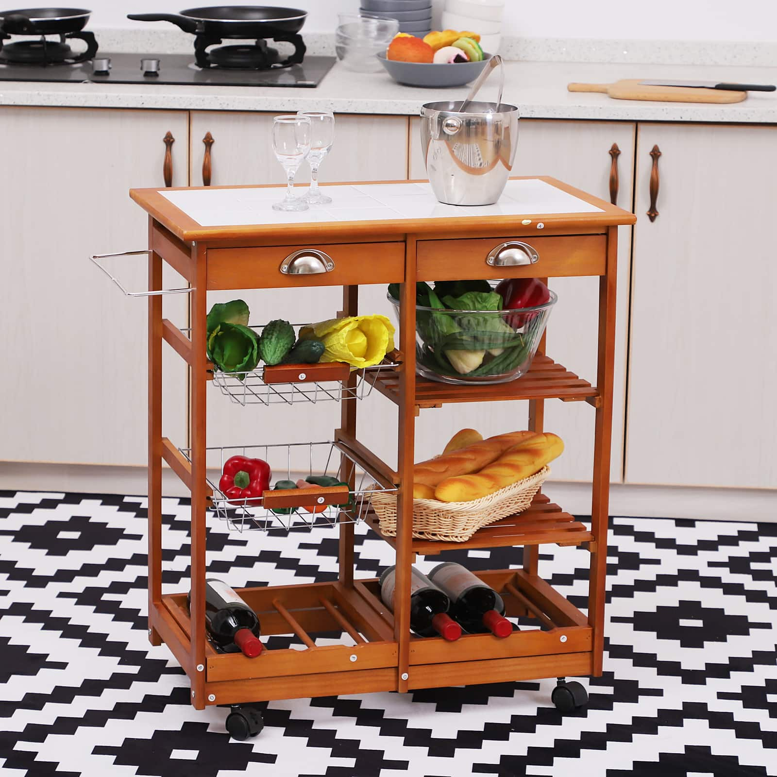 "HomCom 30"" Wooden Rolling Kitchen Organizer Cart with Wine Rack - $54.99 + Free Shipping"