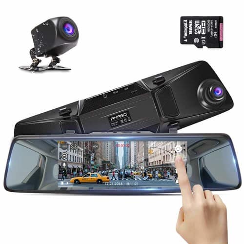 "AKASO 1080P Dual Dash Camera for Cars 7"" Stream Media Touchscreen DVR with 32GB Card $47.99+ FREE SHIPPING $47.57"