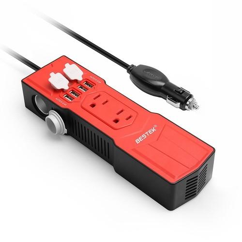 BESTEK 200W Power Inverter with Cigarette Lighter Socket DC 12V to 110V AC Car Converter 4.8A 4 USB Charger for $16.49