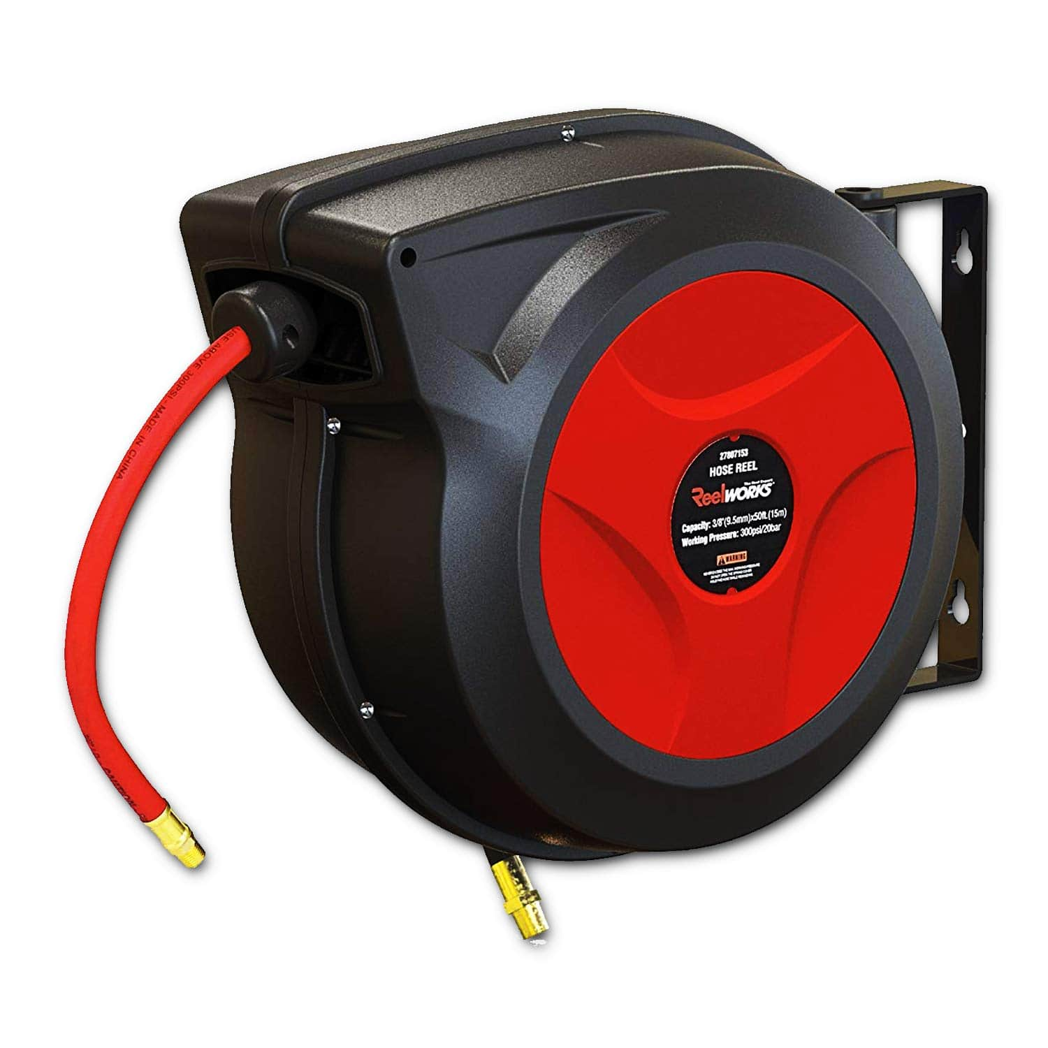 """LIGHNING DEAL REELWORKS Air/Water Hose Reel Automatic Retractable 3/8"""" Inch x 50' for $51.78 + FS"""