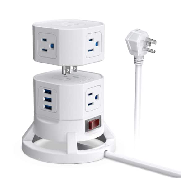 BESTEK 2-Tier Stackable 8 Outlets Power Strip Tower Electric Charging Station with 3 USB Ports for $19.99 + FS