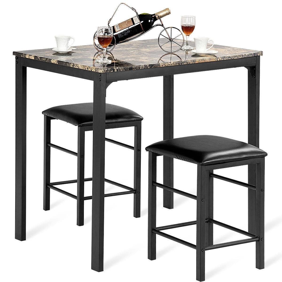 3 Pcs Counter Height Dining Set Faux Marble Table - $82.95 + Free Shipping