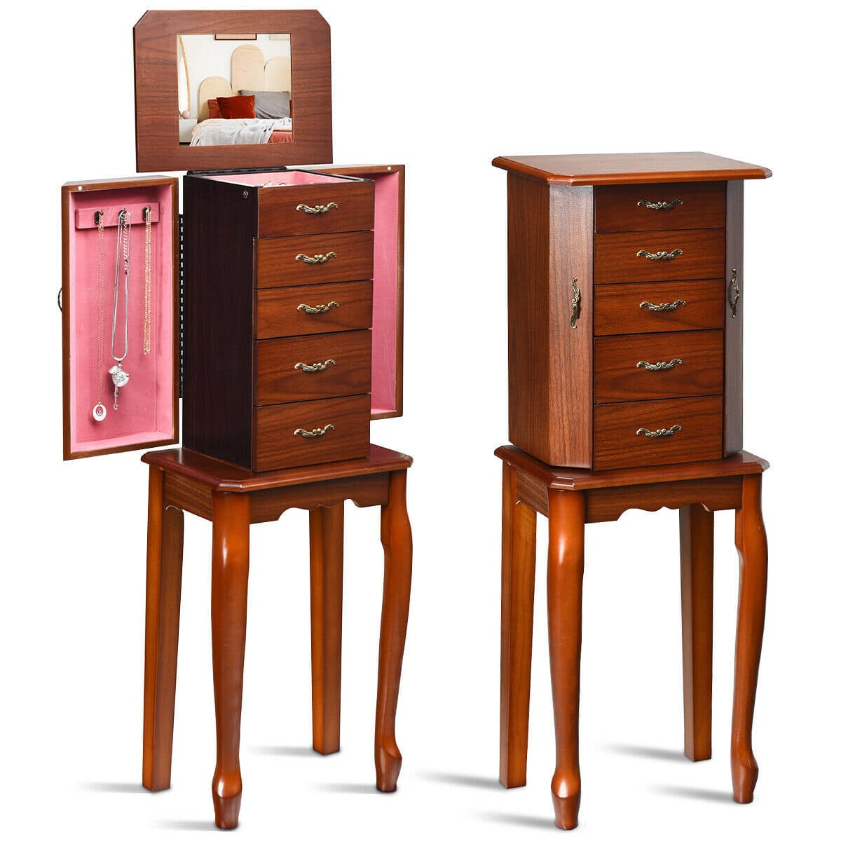 Jewelry Cabinet Armoire Storage Chest Stand Organizer - $60.95 + Free Shipping