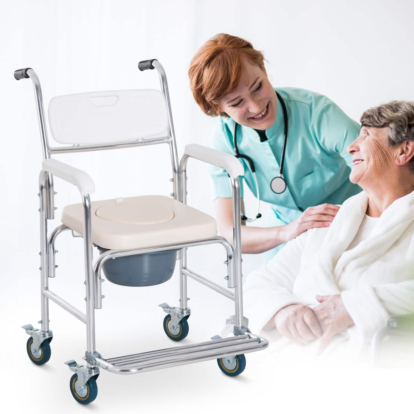 HomCom Personal Mobility Shower Accessible Transport Commode - $79.99 + Free Shipping