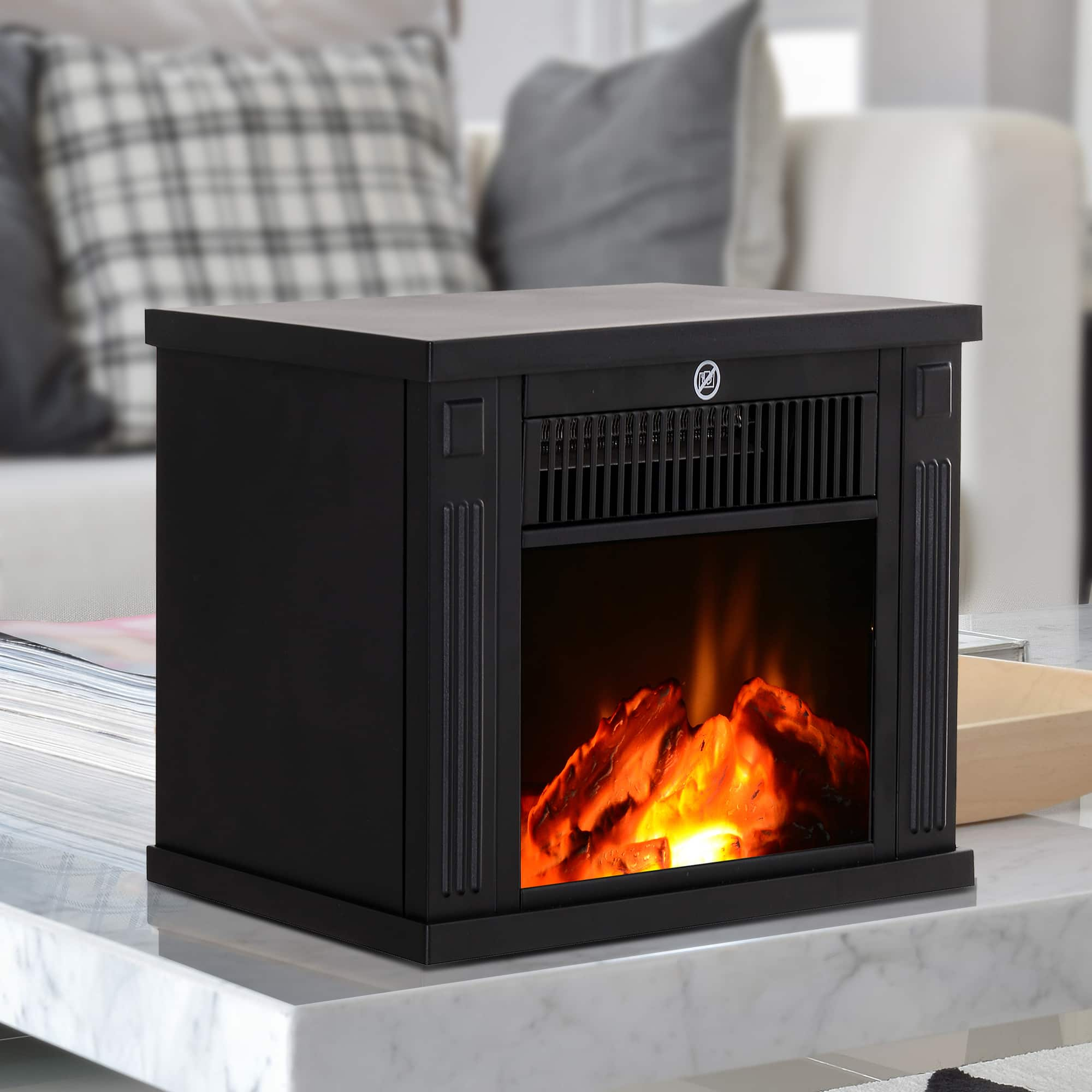 """HomCom 14"""" 1000W Electric Wood Stove Fireplace Heater - $49.99 + Free Shipping"""