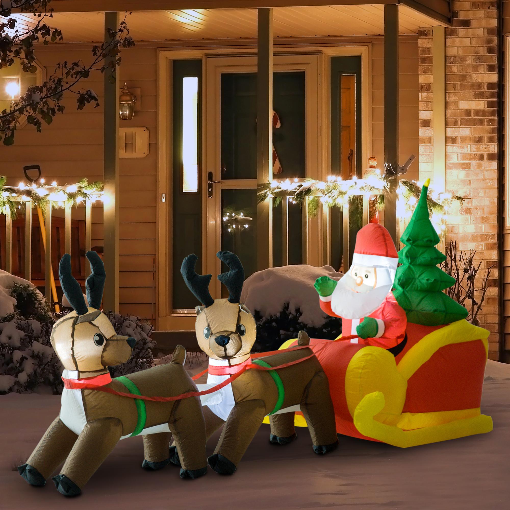HomCom 7' Outdoor Lighted Inflatable Christmas Santas Decoration - $39.99 + Free Shipping