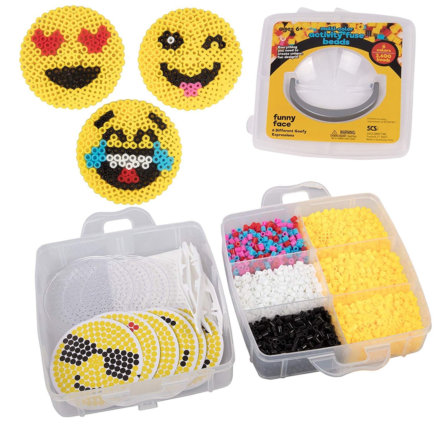 Emoji Smiley Face Fuse Beads - 6 Different Emojis - 3600pcs Beads (6 Colors), Tweezers, Peg Boards, Ironing Paper, Case - $7.50 + Free Shipping for Prime Members