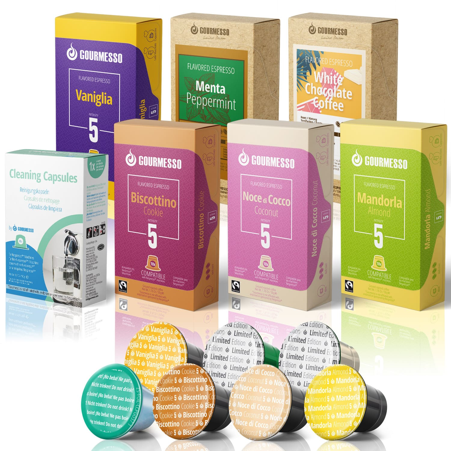 Gourmesso- 60 Flavored Fairtrade Nespresso Compatible Pods for 29.00 + Free Cleaning Capsules and Free Shipping $29