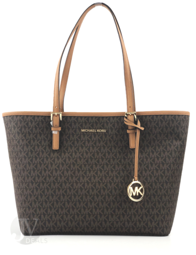 Michael Kors Jet Set Medium Carryall Signature PVC Tote Handbag - $92 + FS