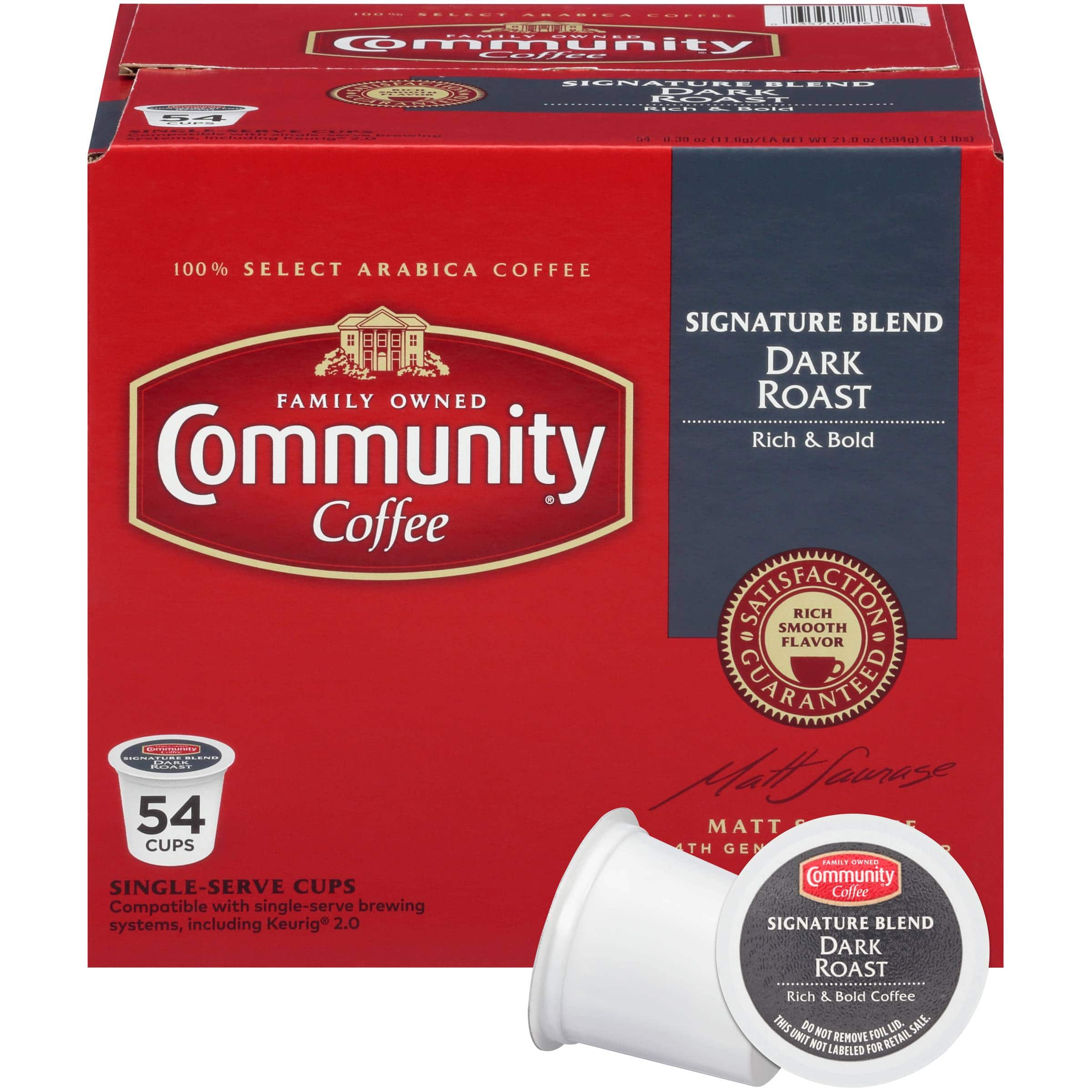33% Off Community Coffee Signature Dark Roast 54 Count Single Serve Cups FOR CYBER MONDAY + Free Shipping for $19.99 Lightning deal ends at 10:25pm PST
