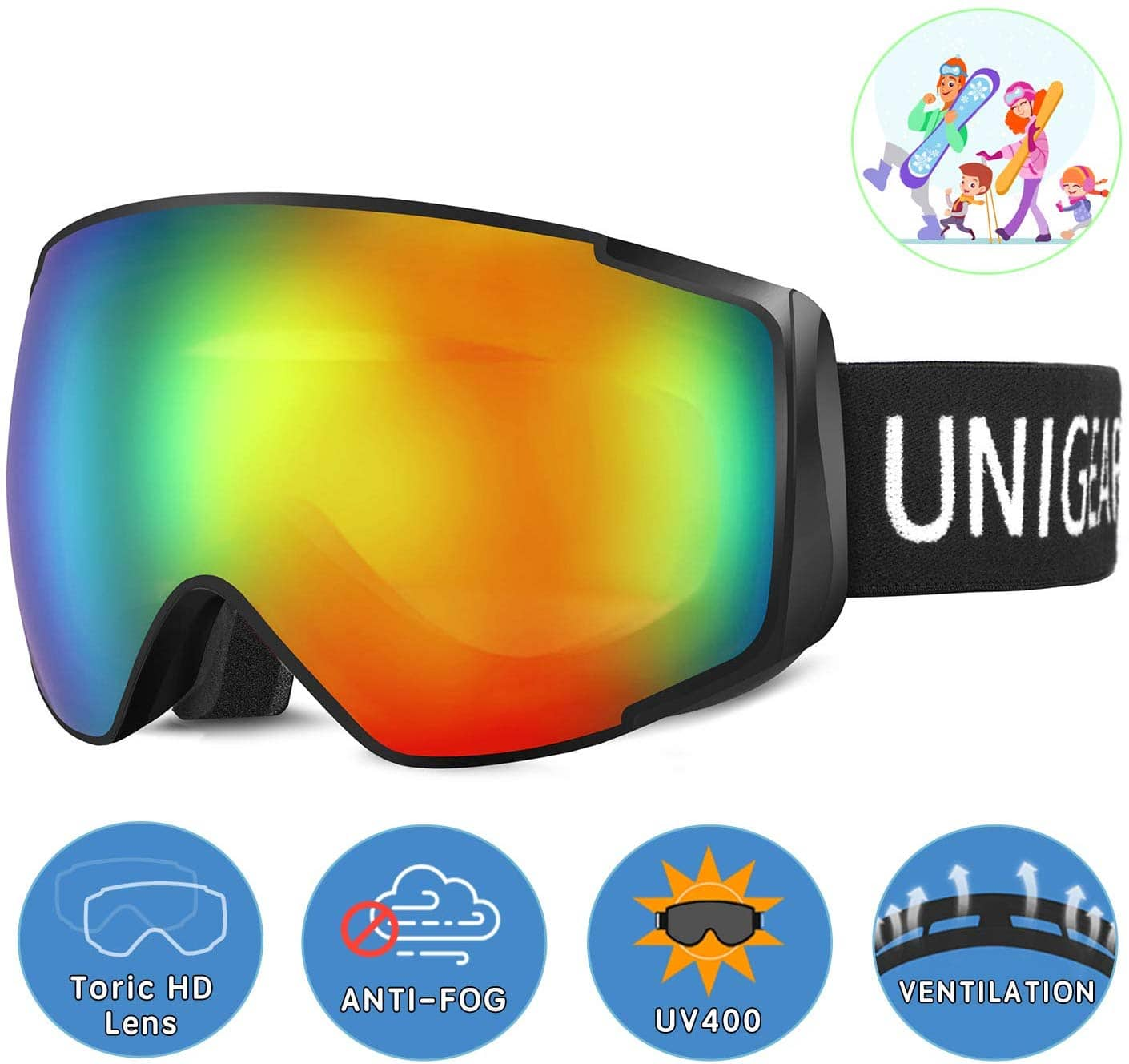 Unigear OTG Ski Snowboard Goggles (Various Colors) for Kids and Adult from $9.99