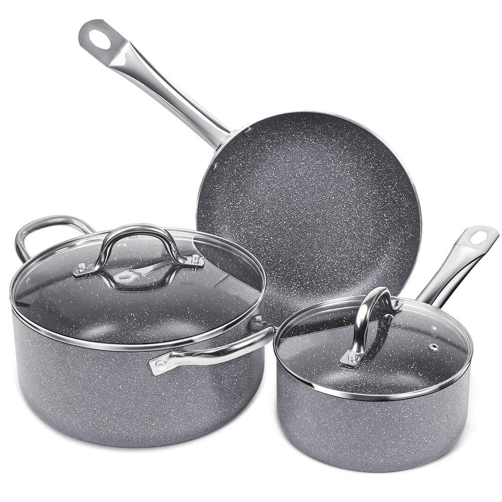 FGY 5 PCS Nonstick Frying Pan Cookware set Stone-Derived for $29.98 + FS